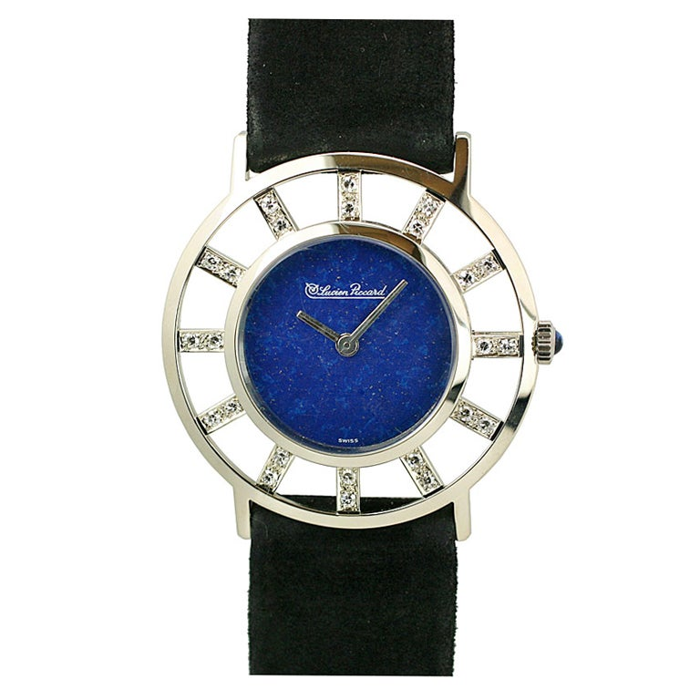 lucien piccard white gold lapis dress wristwatch