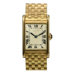 """CARTIER Yellow Gold """"Super Tank"""" with Gold Bracelet circa 1940s"""