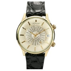 LECOULTRE Yellow Gold Memovox World Time c. 1960's