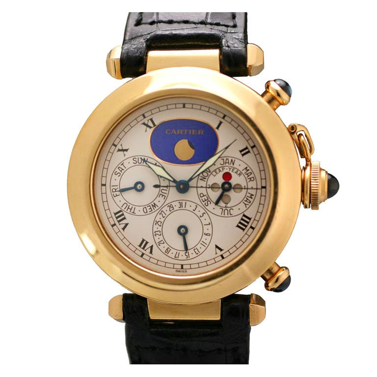 Cartier Yellow Gold Pasha Triple Date Moonphase Chronograph Wristwatch For Sale