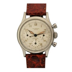 UNIVERSAL Stainless Steel Compax Chronograph Wristwatch circa 1950s