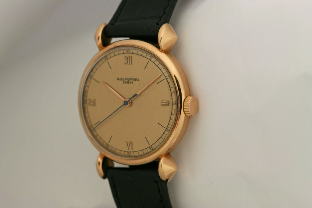 PATEK PHILIPPE Rose Gold Fancy Lug Wristwatch circa 1940s image 2