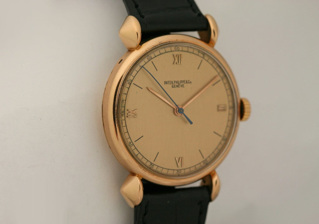 PATEK PHILIPPE Rose Gold Fancy Lug Wristwatch circa 1940s image 3