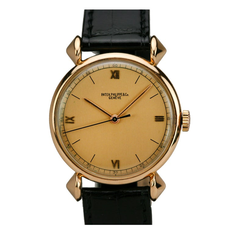 PATEK PHILIPPE Rose Gold Fancy Lug Wristwatch circa 1940s