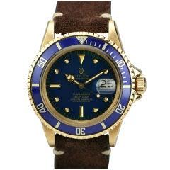Rolex Yellow Gold Submariner Wristwatch Ref 1680 circa 1970s