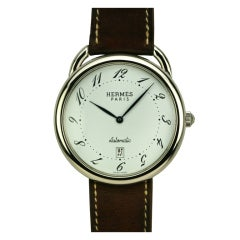 Hermes Stainless Steel Arceau TGM Automatic Wristwatch