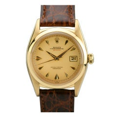 Rolex Rare Rose Gold Datejust Wristwatch Ref 6305/1 circa 1950s