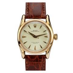 Rolex Rose Gold Bombe Wristwatch Ref 6090