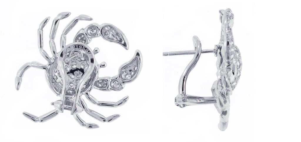 TIFFANY & CO. Diamond Platinum Crab Earrings 2