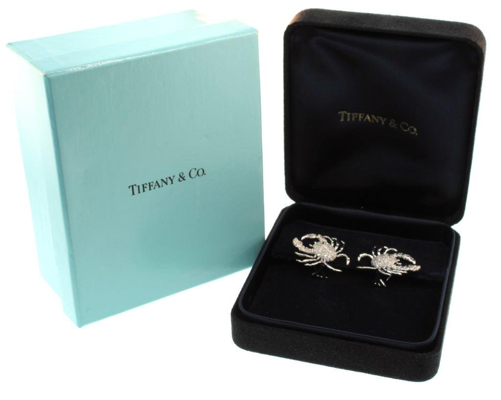 TIFFANY & CO. Diamond Platinum Crab Earrings 3