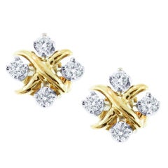 TIFFANY & CO. Diamond Yellow Gold 'X' Earrings
