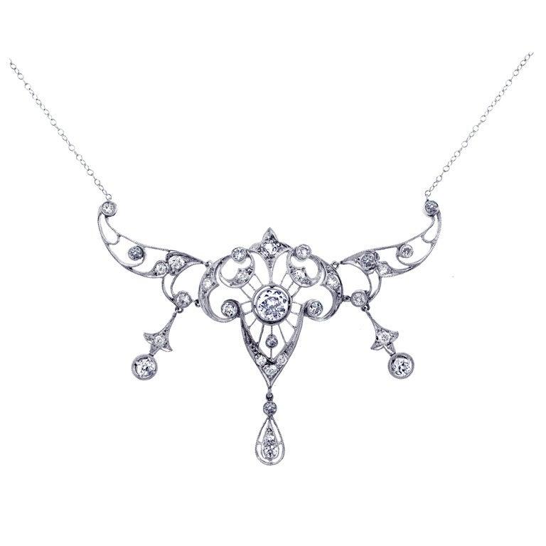 Antique Platinum and Diamond Necklace