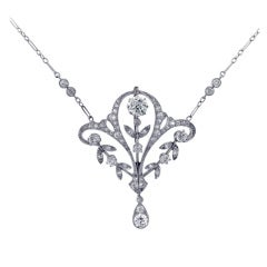 Antique Platinum and Diamond Necklace