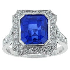 Burma Not Heat Sapphire and Diamond Ring