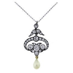 Natural Pearl and Diamond Lavaliere