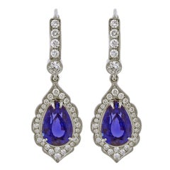 Exceptional Tanzanite and Diamond Earrings