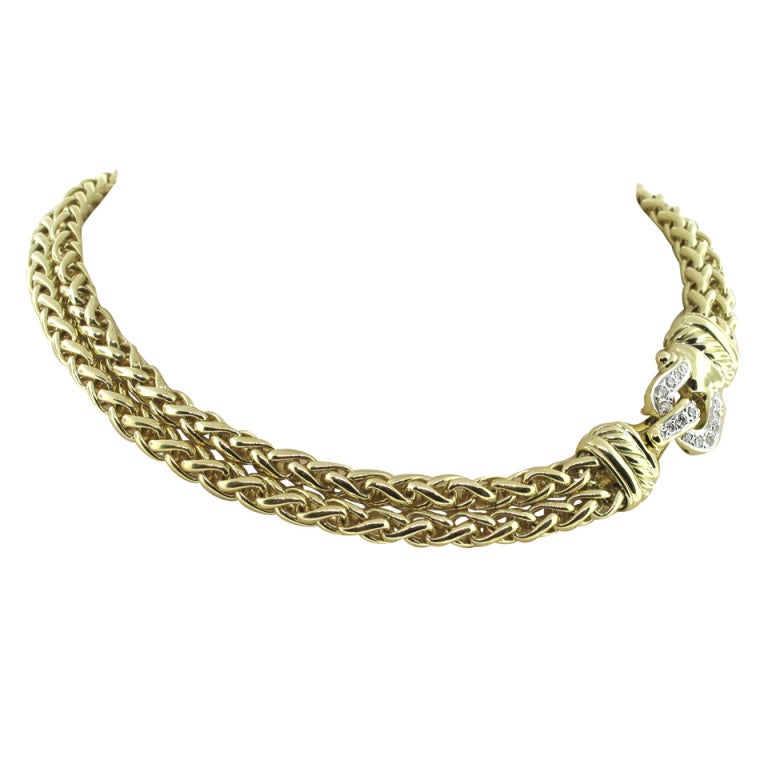 David Yurman Gold and Diamond Necklace For Sale