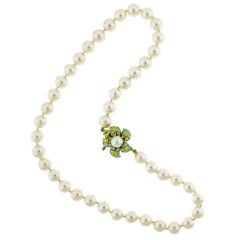 Tiffany & Co. Pearl Necklace with Yellow and White diamond clasp