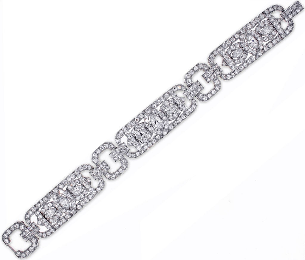 The 1930s bracelet features three Marquis-cut diamonds surrounded by two hundred and eighty-six round diamonds weighing 11.70 carats to create a truly fabulous and classic Art Deco design.