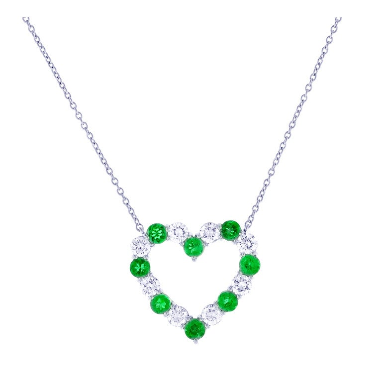 Tiffany and co emerald and diamond heart pendant at 1stdibs tiffany co emerald and diamond heart pendant for sale aloadofball Image collections