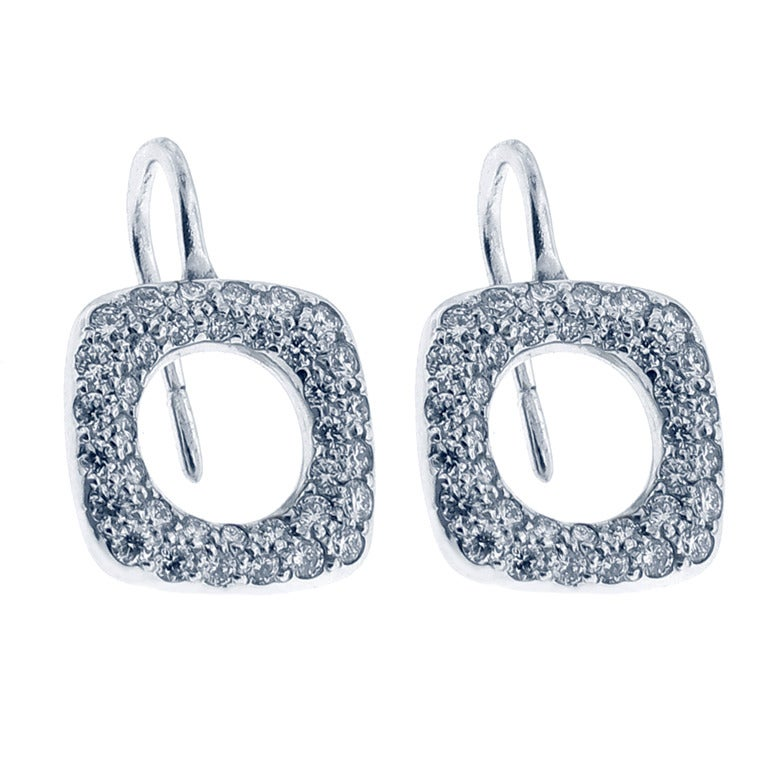 Tiffany & Co. Platinum and Diamond Drop Earrings For Sale