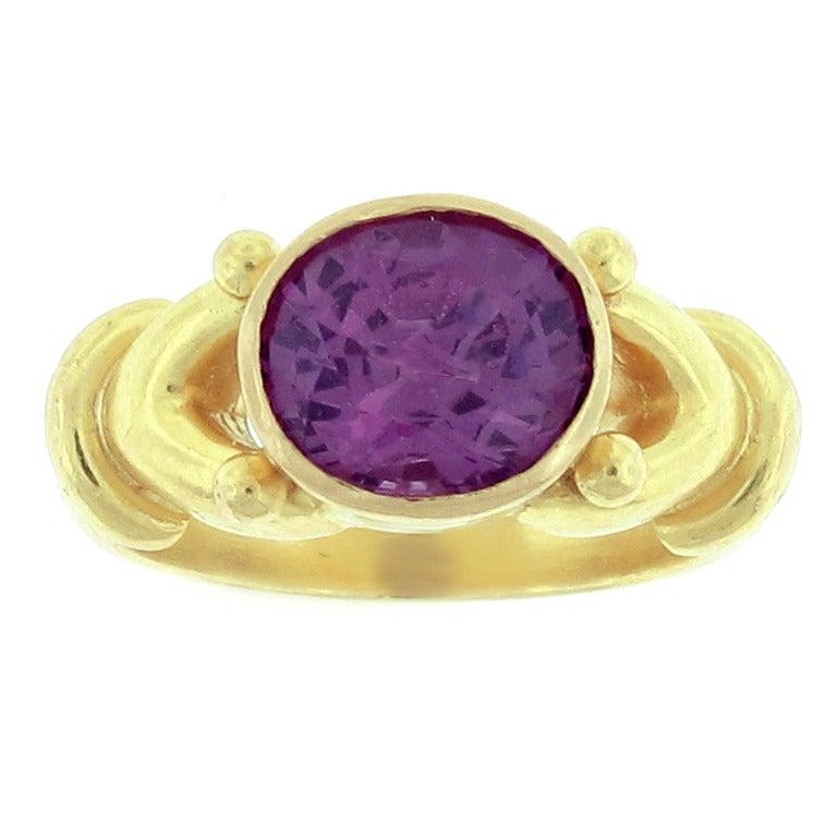 elizabeth locke gold and purple spinel ring at 1stdibs