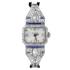 Lady's Platinum, Diamond and Sapphire Art Deco Wristwatch