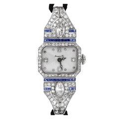 C.H. Meylan Made for Grogan Co. Diamond and Sapphire Art Deco Wristwatch
