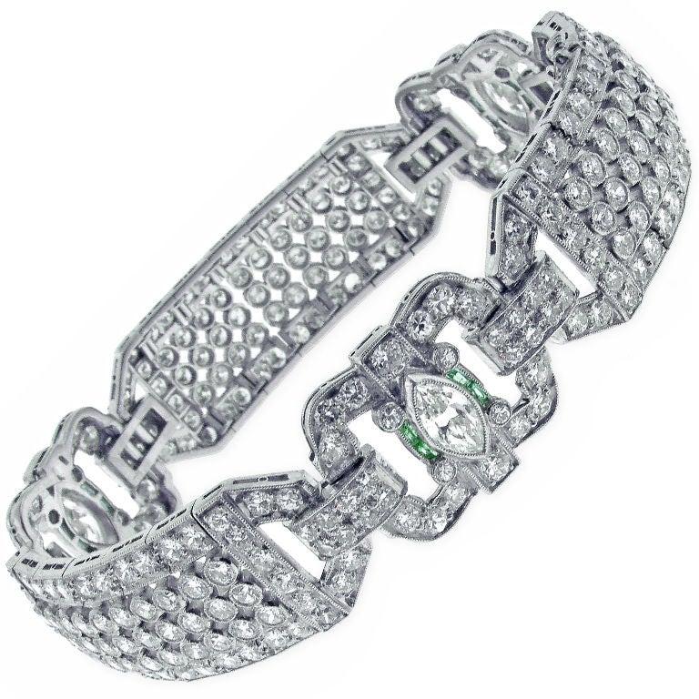Diamond and Emerald Art Deco Wide Bracelet