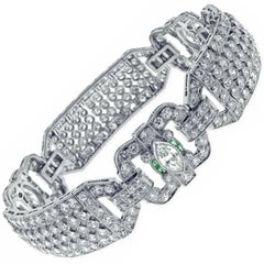 Diamond and Emerald Art Deco Wide Bracelet