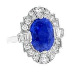 Non Heated Ceylon Sapphire and Diamond Ring
