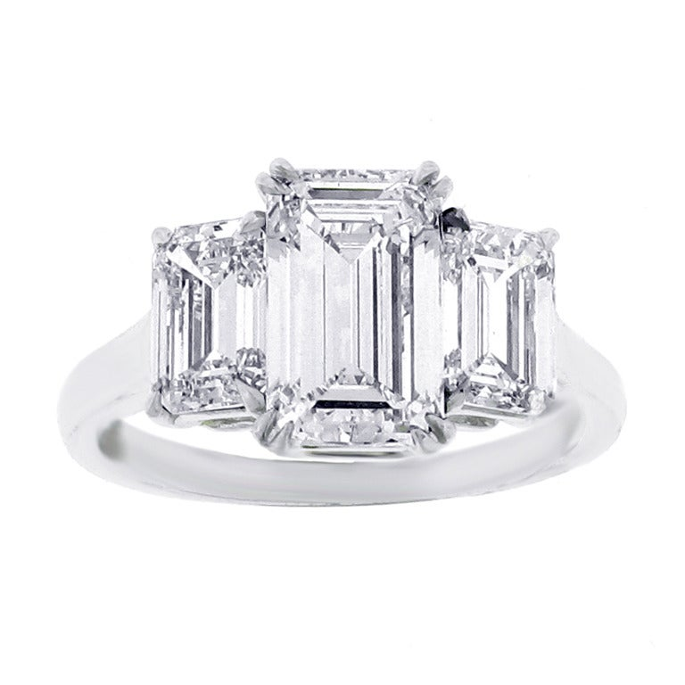 Three Stone Emerald Cut Diamond Ring at 1stdibs