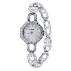 Art Deco Lady's Platinum and Diamond Octagonal Bracelet Watch