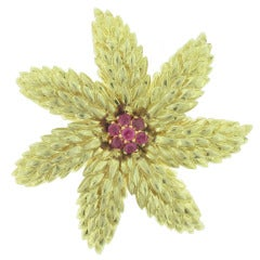 Tiffany & Co. Ruby Gold flower Brooch