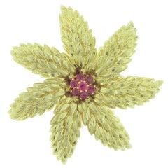 Tiffany & Co. Ruby Gold flower Brooch