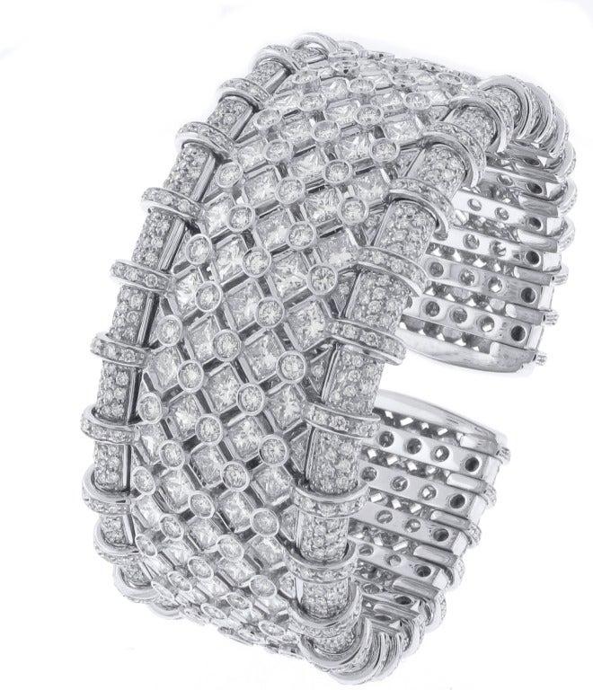 R C M Diamond Cuff Bracelet For Sale at 1stdibs