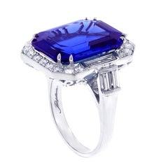 Emerald Cut Tanzanite and Diamond Ring