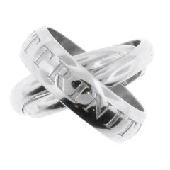 Cartier 18 Karat White Gold OR AMOUR ET TRINITY Band Ring