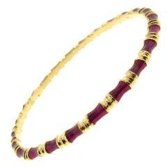 Tiffany & Co. Red Enamel Yellow Gold Bangle Bracelet