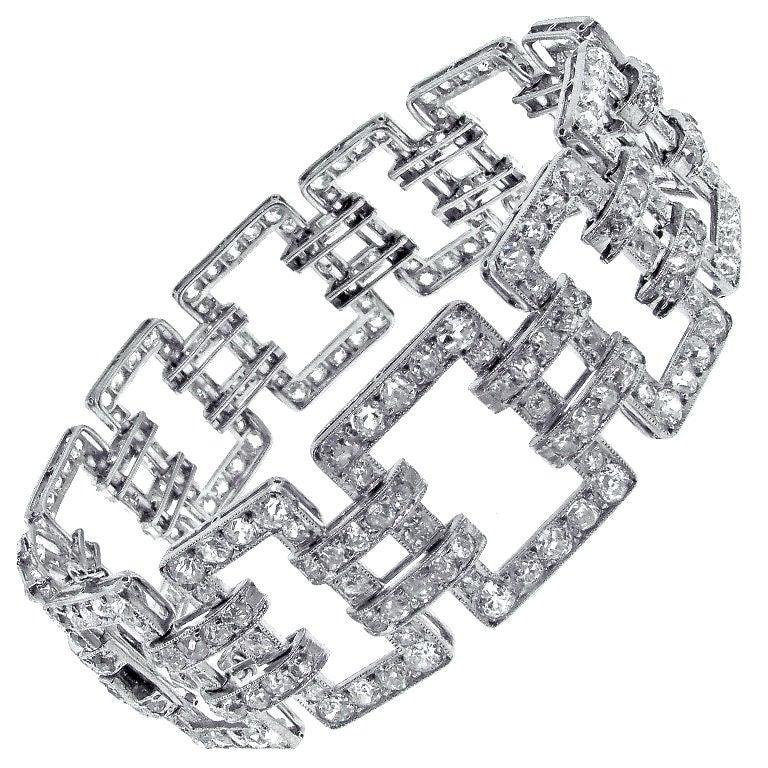 Diamond Open Link Antique Edwardian Bracelet For Sale