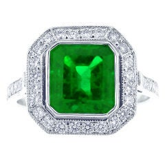 A.G.L Colombian Emerald and Diamond Ring