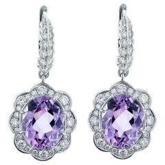 Kunzite And Diamond Drop Earrings