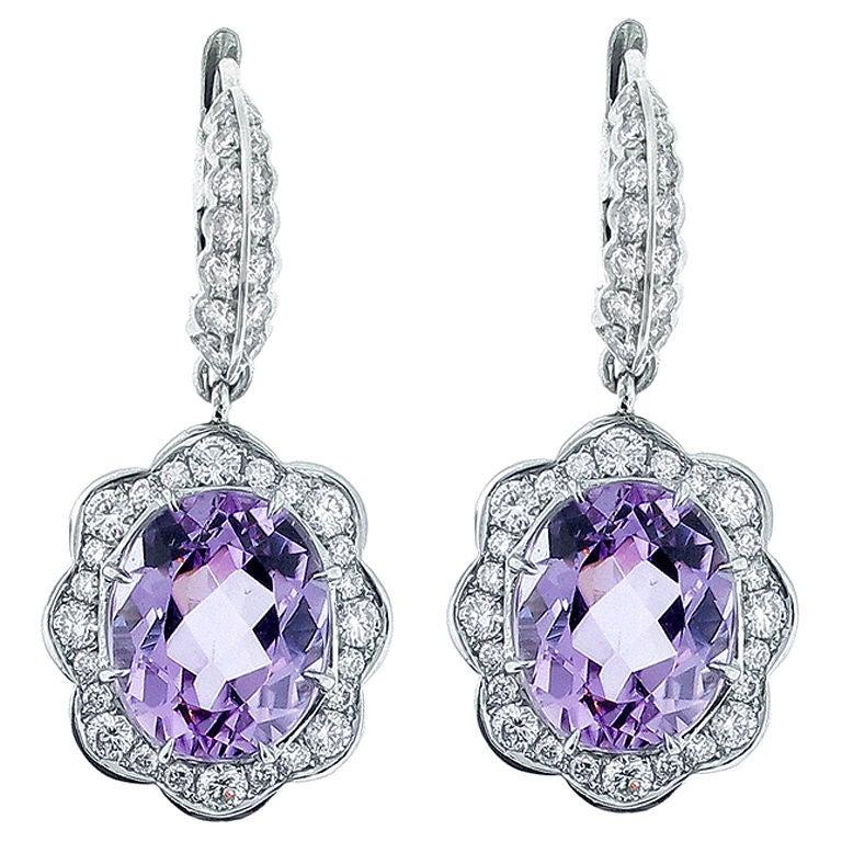 Kunzite And Diamond Drop Earrings For Sale
