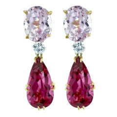 Rubellite And Kunzite Drop Earrings