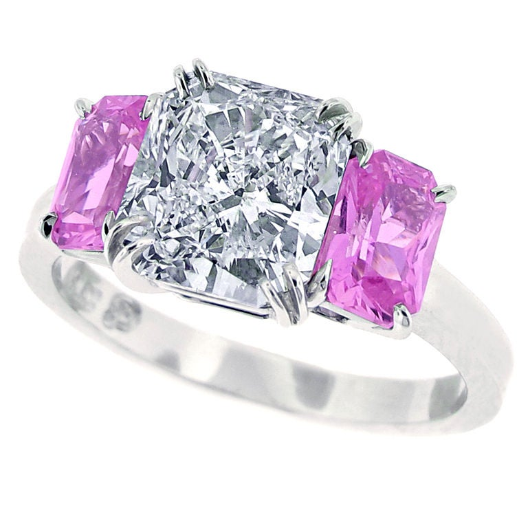Radiant Cut Diamond And Pink Sapphire Ring At 1stdibs