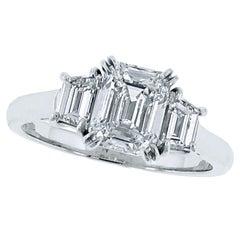 Emerald Cut Diamond Platinum Ring.