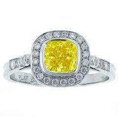 Cushion Cut Fancy Intense Yellow Diamond Ring