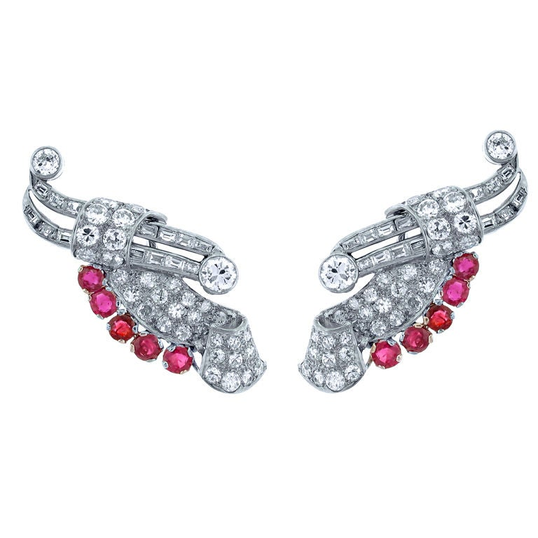 Platinum ruby and diamond wing earrings