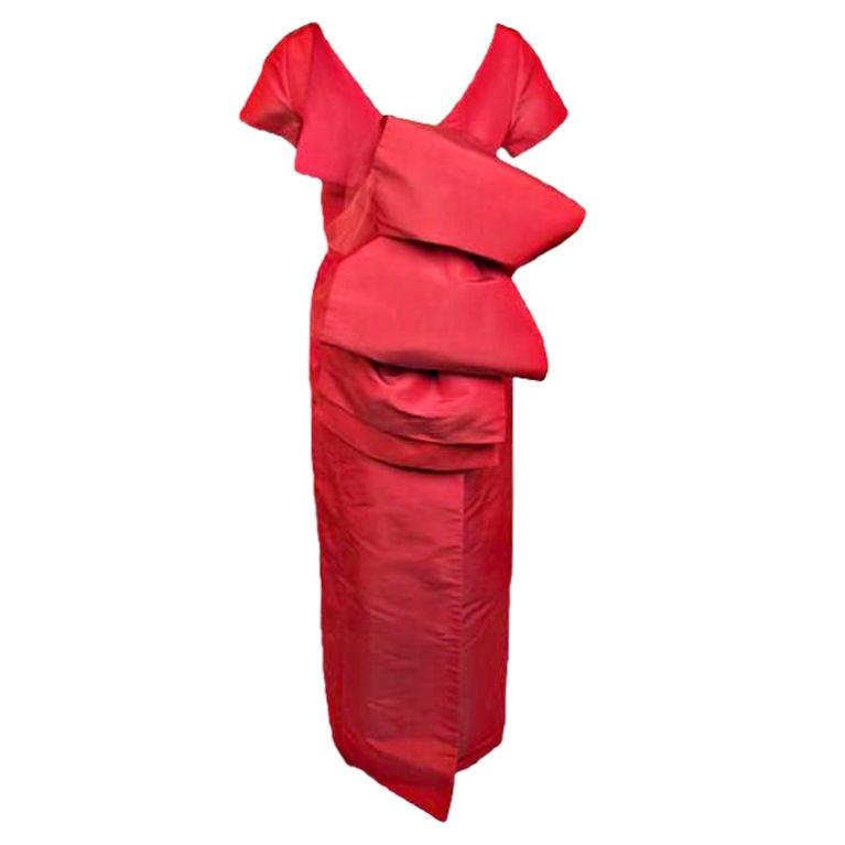 Isaac Mizrahi Hugh Red Bow Detail Dress At 1stdibs