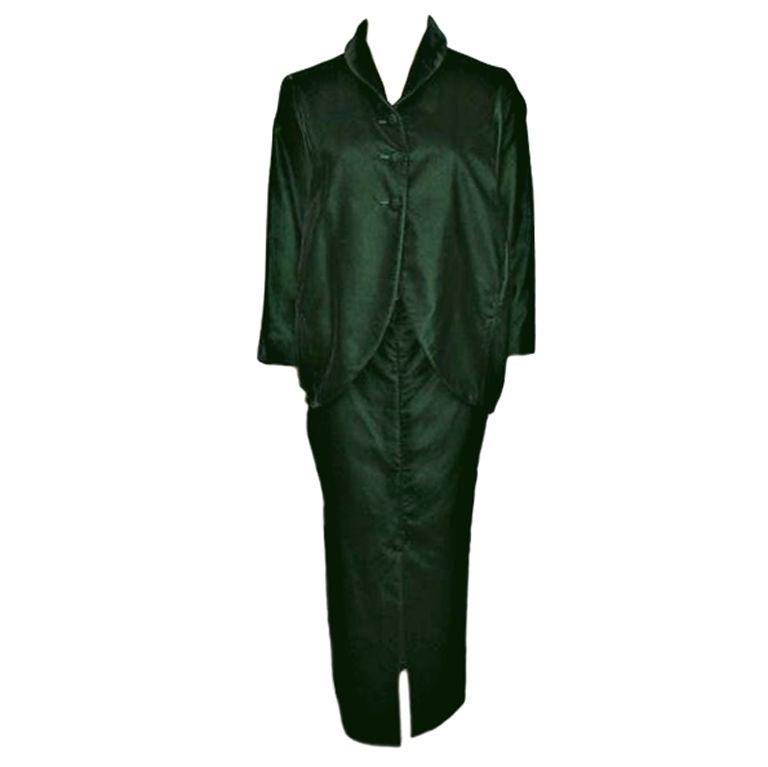 Romeo Gigli 2pc Green Velvet Bubble Jacket Skirtset At 1stdibs